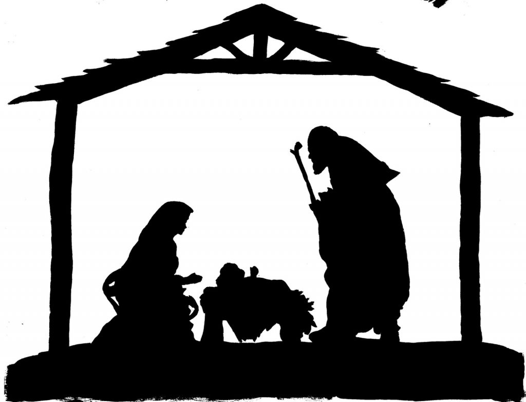 1024x783 Nativity Scene Black And White Clipart