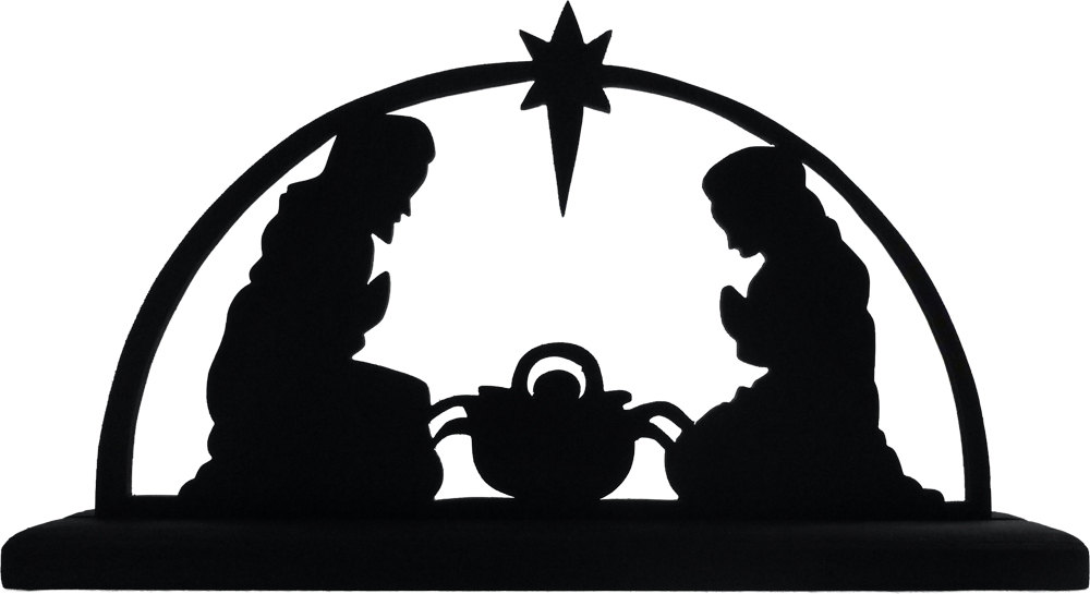 1000x545 Nativity Scene Handmade Wood Display Silhouette Great