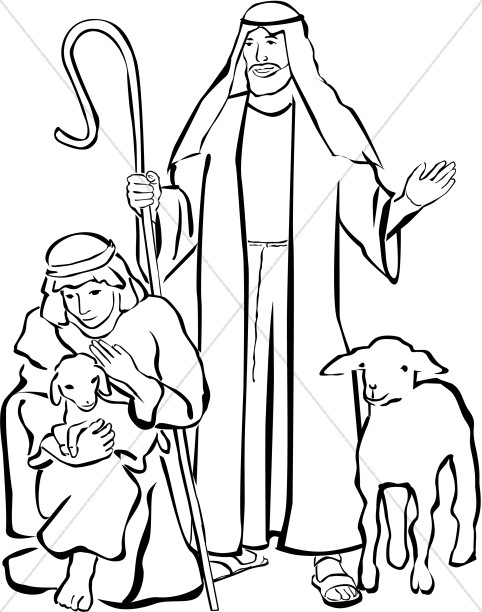 482x612 Nativity Scene with Angel Overhead Nativity Clipart