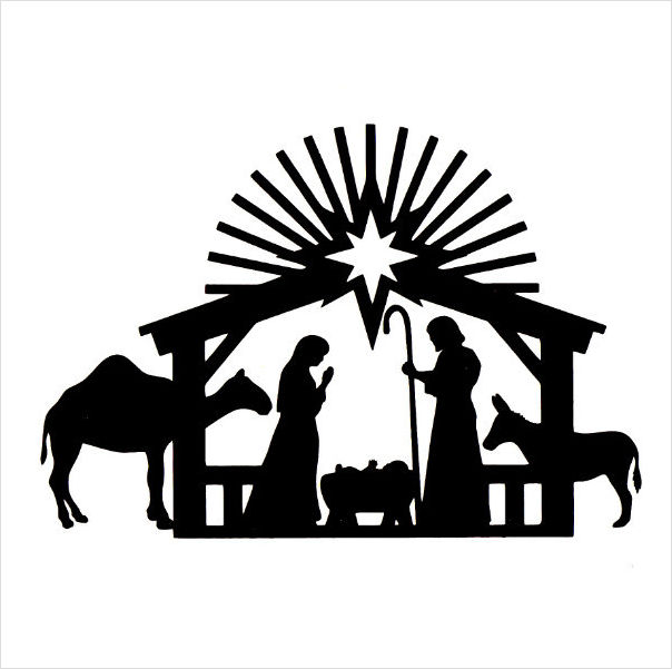 604x601 Nativity black and white nativity clipart clipartfest 2