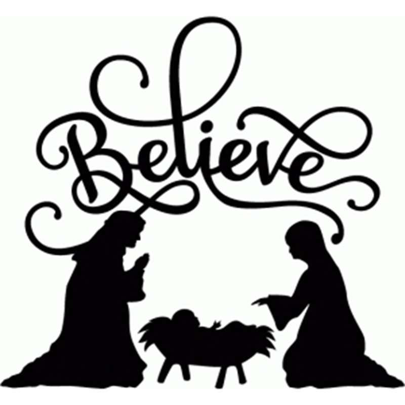 800x800 BELIEVE NATIVITY FLOURISH Vinyl Christmas Decal sticker for