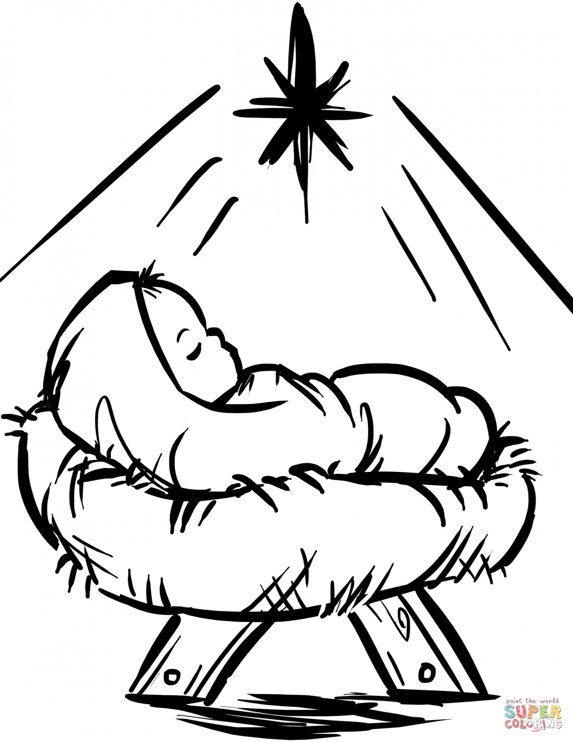 1159x1500 Baby Jesus Manger Scene Coloring Page Free Printable Coloring Pages