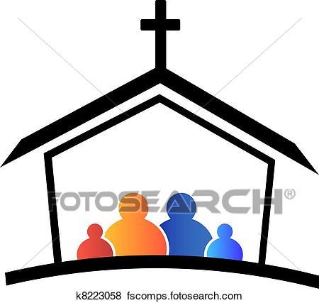 450x427 Clip Art Of Church Family Faith Logo K8223058