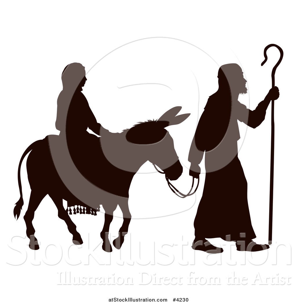 1024x1044 Vector Illustration of a Silhouette of Mary and Joseph with a