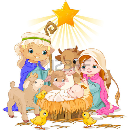 445x450 Christmas Nativity Scene With Holy Family Royalty Free Cliparts