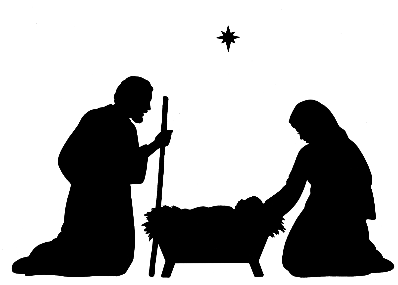 Nativity Scene Clipart Black And White