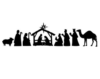 340x270 Black White Nativity Scene Clipart