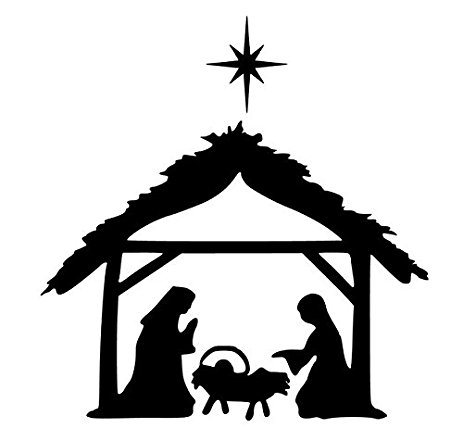 463x428 Reusable Window Cling Nativity Scene