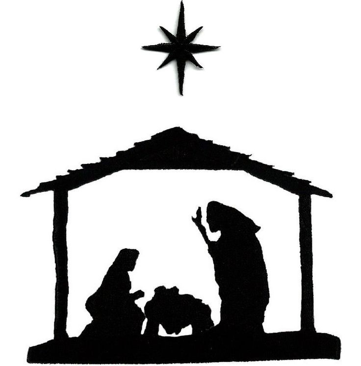 Nativity Scene Clipart Black White