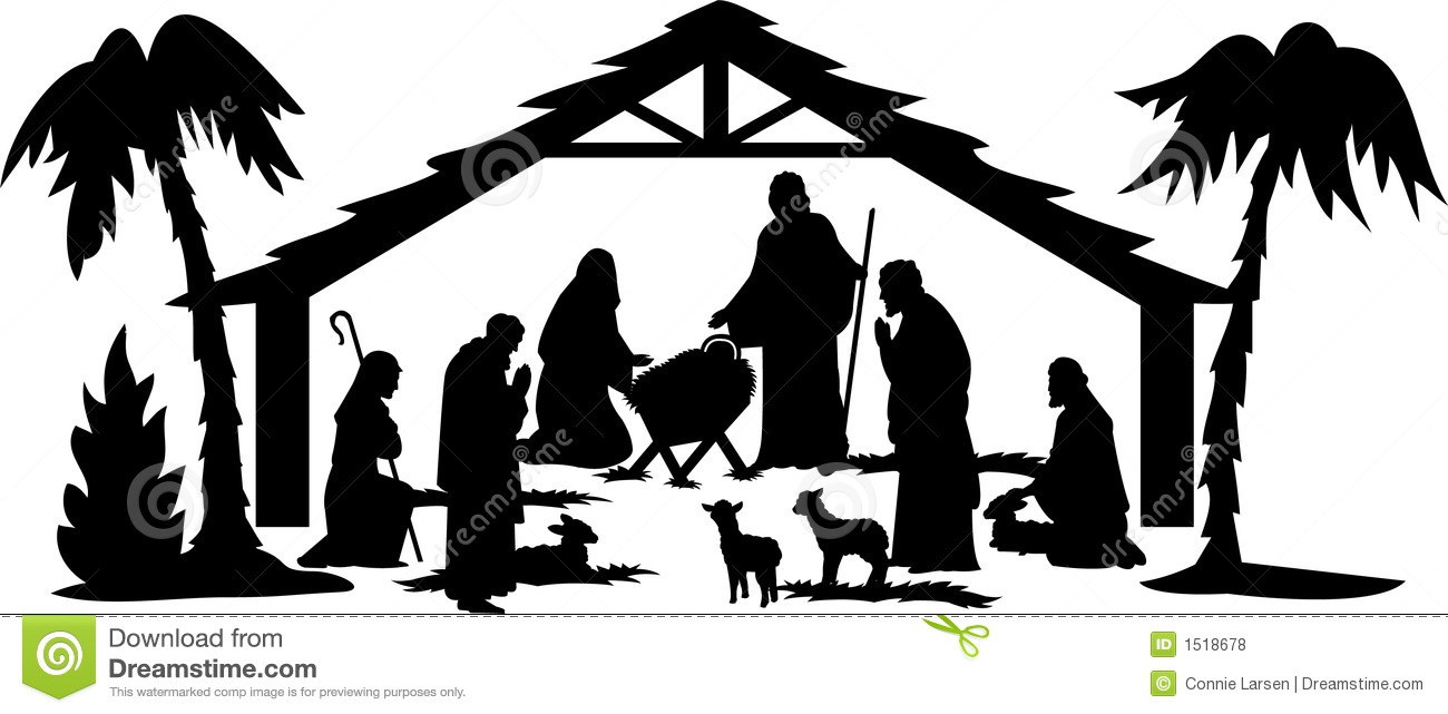 1300x641 Clip Art Nativity Scene Black And White Clip Art