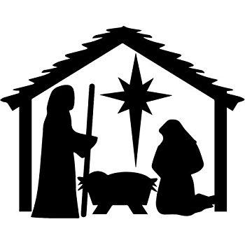 350x350 Christmas Nativity Scene, Decal Sticker Vinyl Car Home