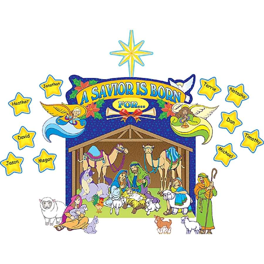 900x900 Nativity Scene Bulletin Board Display Set