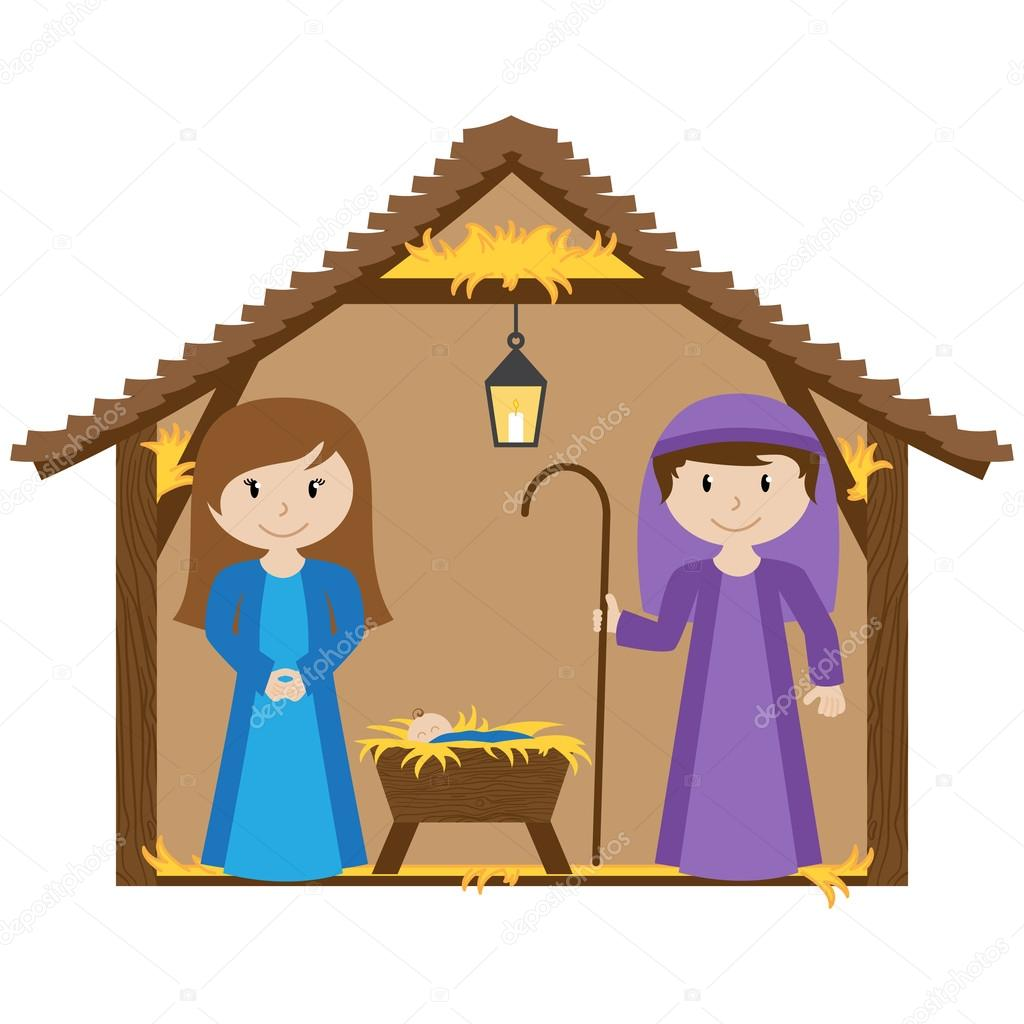 1024x1024 Vector Nativity Scene With Manger And Baby Stock Vector