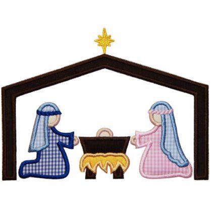 420x420 Applique Only Nativity Scene Applique