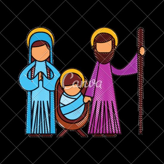 550x550 Christmas Nativity Scene Holy Family Jesus Mary And Joseph