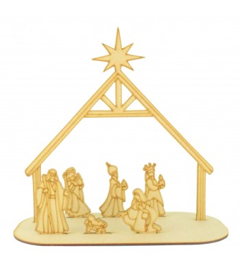 350x400 Laser Cut 3d Nativity Scene Tea Light Holder On Stand