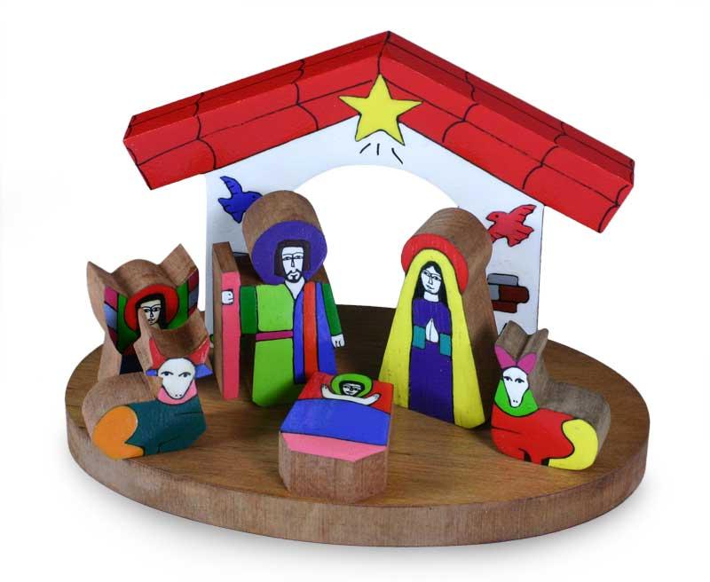 800x656 Pinewood Nativity Scene (Set Of 8)