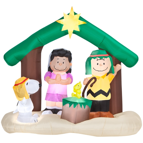 600x600 Airblown Peanuts Nativity Scene
