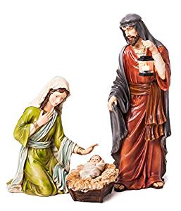 257x300 Evergreen 3 Piece Mary, Joseph And Baby Jesus Nativity