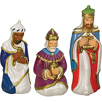 350x350 Nativity Scene Three Wiseman Set With Light Garden