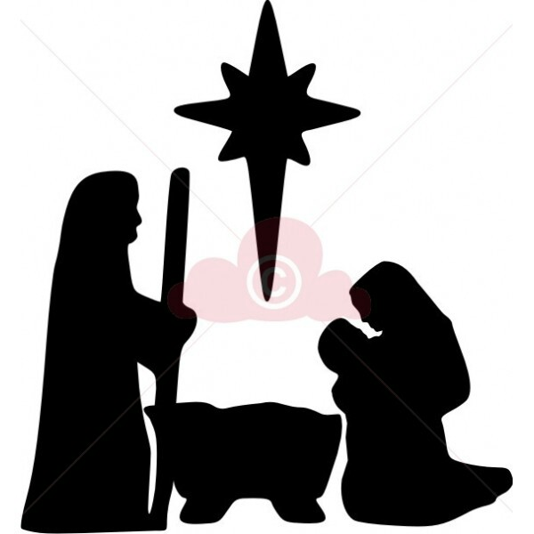 600x600 Easy Nativity Silhouette For Children (Use Shelter Template Too