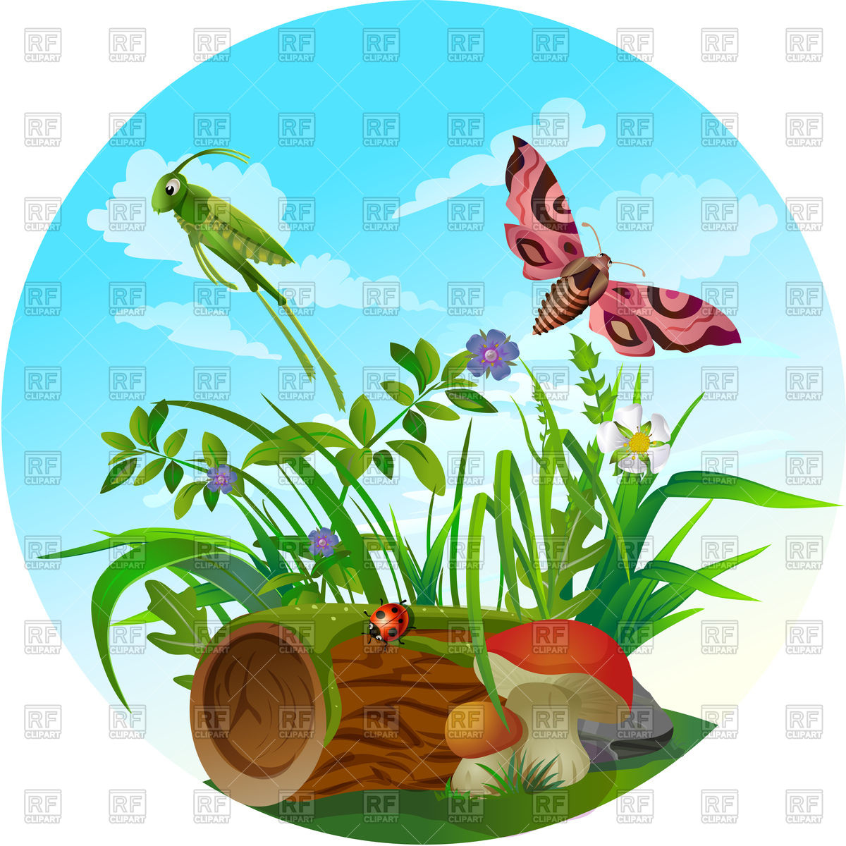 1200x1200 Nature Icon, Insect Life In Forest Royalty Free Vector Clip Art
