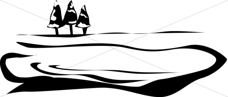 776x333 Lake And Trees Motif Nature Clipart