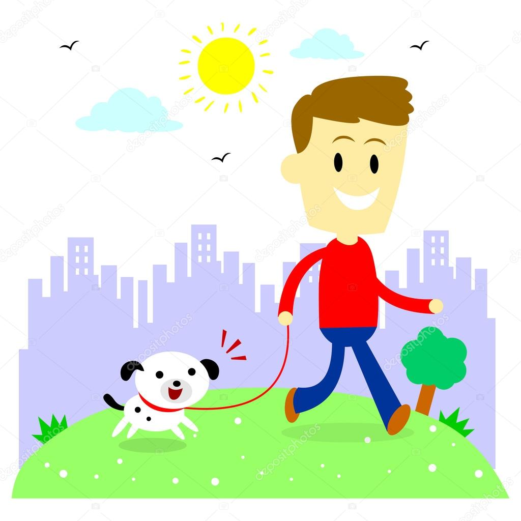 1024x1024 Man Taking His Puppy For A Walk