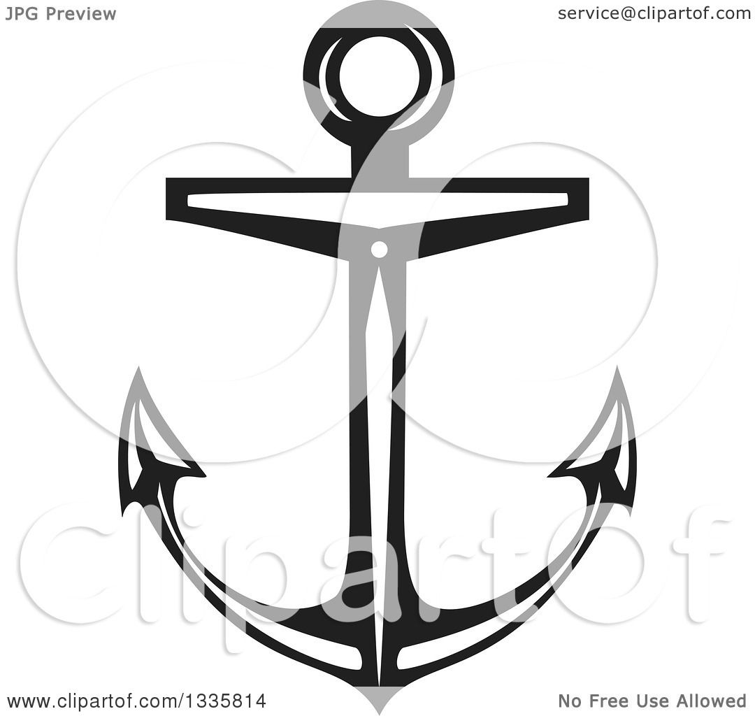 1080x1024 Clipart Of A Black And White Nautical Anchor