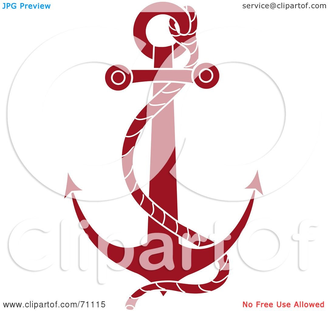 1080x1024 Royalty Free (Rf) Clipart Illustration Of A Red Nautical Anchor