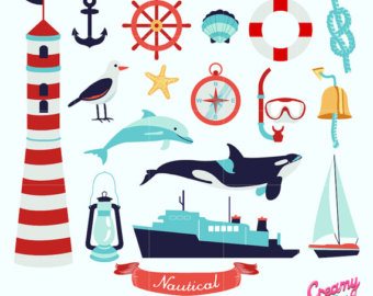 340x270 Giant Watercolor Nautical Collection, Nautical Clip Art