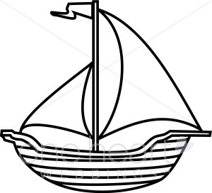 300x272 Black And White Line Art Sailboat Clipart Nautical Wedding Clipart