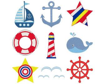 340x270 Digital Nautical Clip Art Boat Lighthouse Whale Anchor