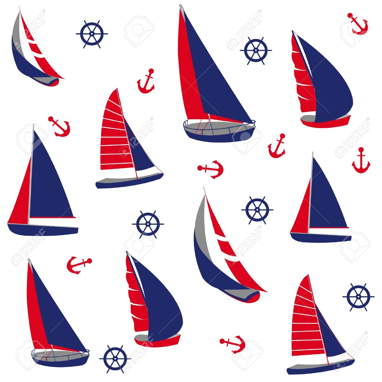 1300x1300 Seamless Pattern With Nautical Elements Royalty Free Cliparts