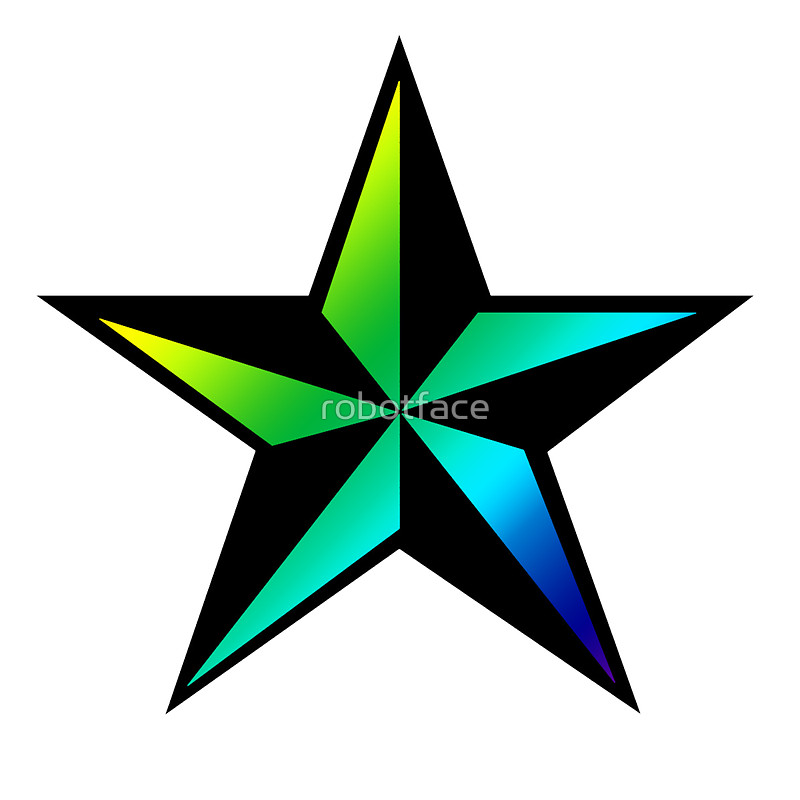 800x800 Nautical Star Sticker (Green Blue Version) Stickers By Robotface