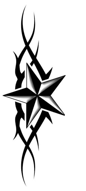 275x613 Amazing Black Tribal And Nautical Star Tattoo Designs