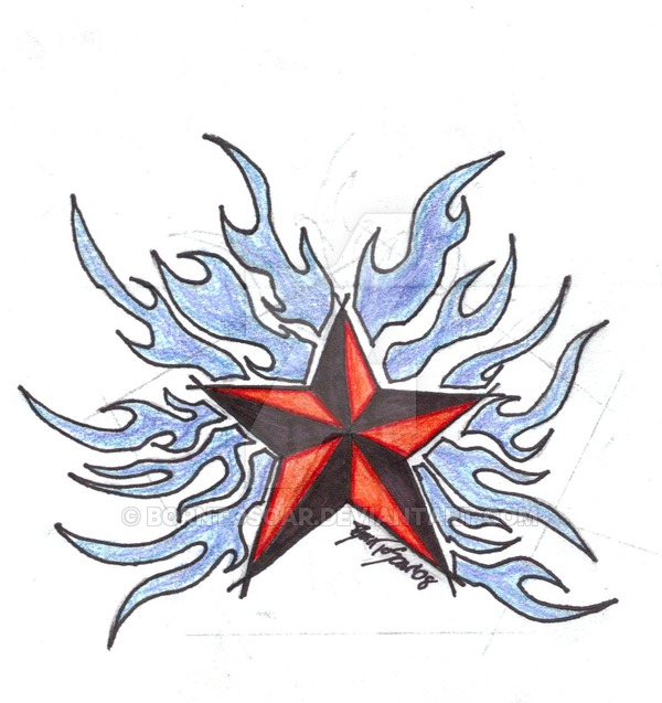 600x637 Nautical Star Tattoo Finished By Borntosoar