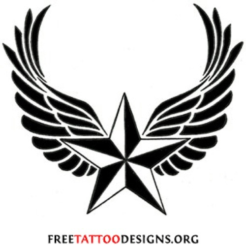 500x500 Winged Nautical Star Tattoo Design