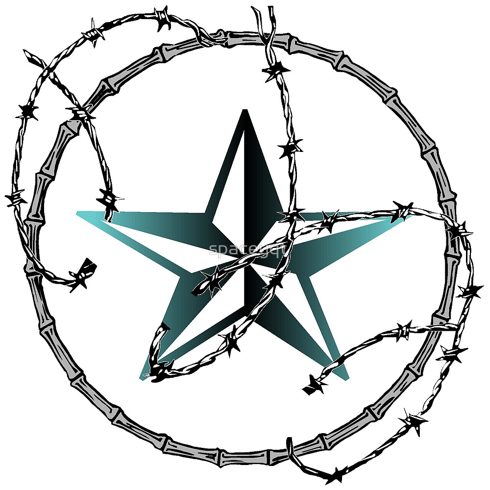 1000x1000 Barbed Wire Nautical Star By Spaceyqt Redbubble