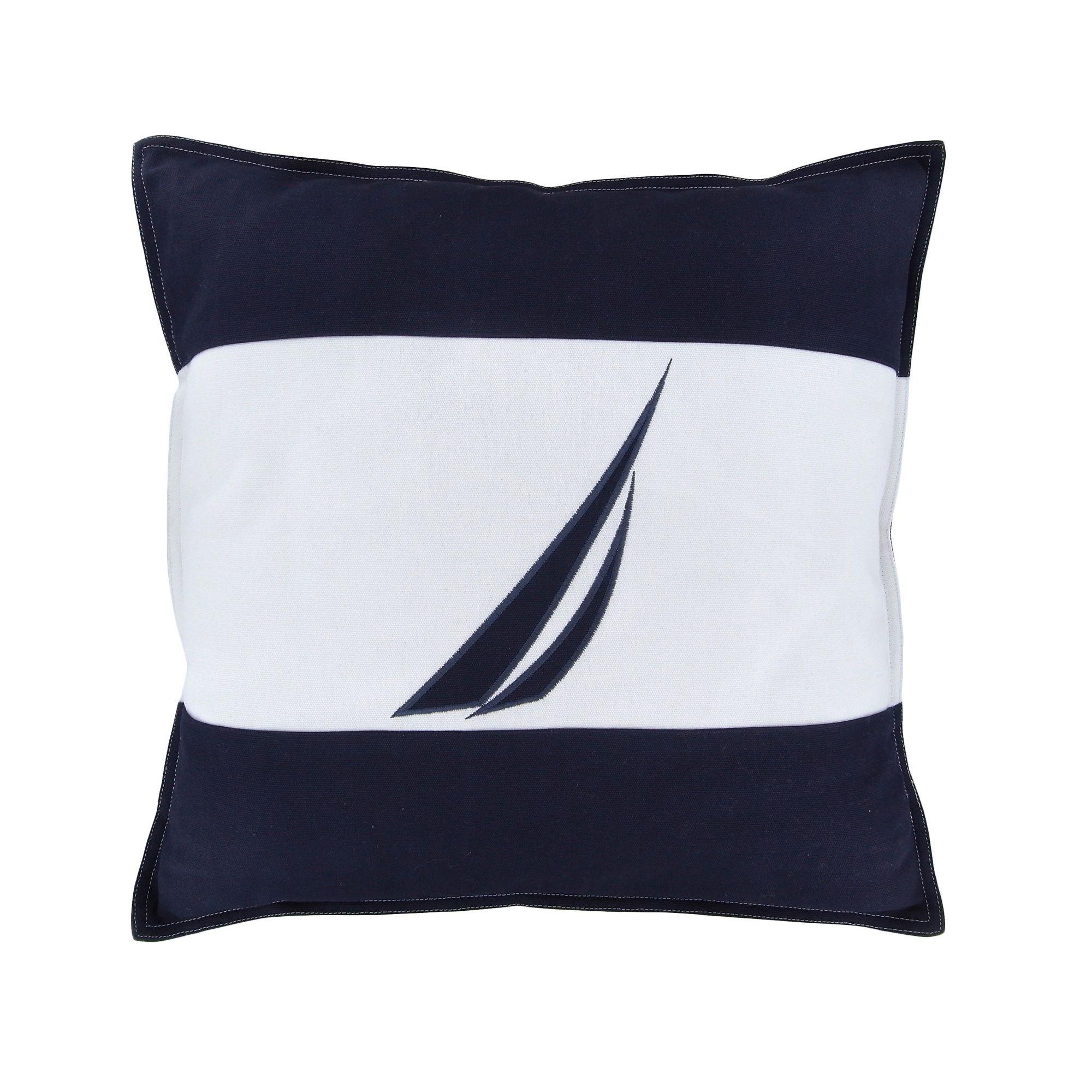 2000x2000 Nautica Mainsail Spinnaker Navy Decorative Pillow (18x18), Blue