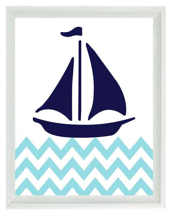 570x713 Nautical Sailboat Chevron Wall Art Print Navy Blue Aqua