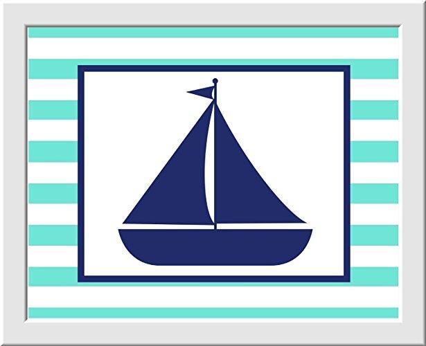 615x500 Nautical Boy Nursery Wall Art Navy Blue Aqua Whale
