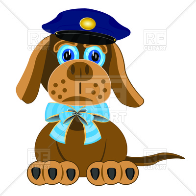 400x400 Dog With Blue Bow On Neck And Police Cap Free Vector Clip Art