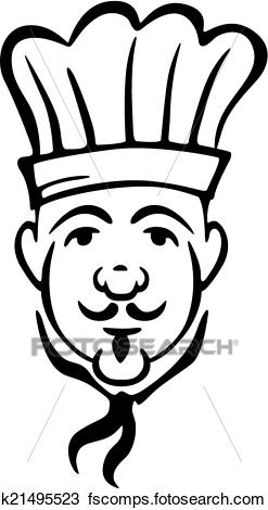 247x470 Clipart Of Chef In Toque And Necktie With A Moustache K21495523