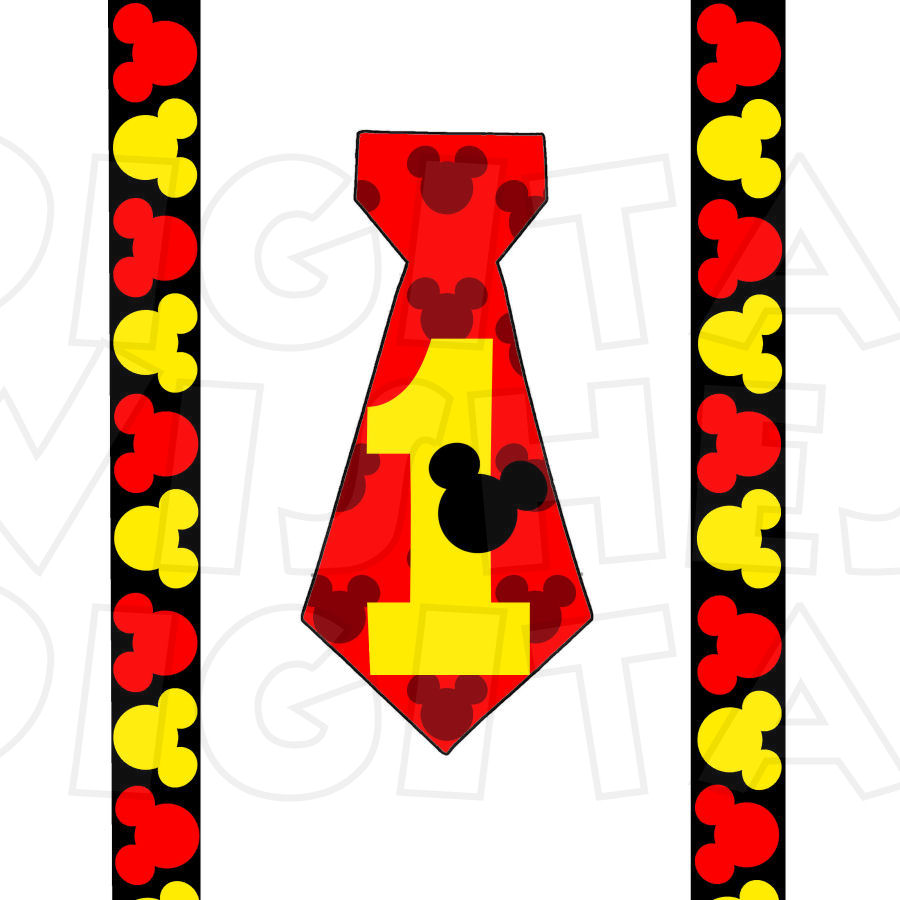 900x900 Mickey Mouse Tie And Suspenders Red Black Yellow 1st Birthday