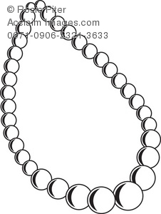 226x300 Clip Art Illustration Of The Outline Of A Pearl Necklace