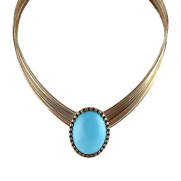 600x600 Imitation Gemstone Jewelry Gold Color Alloy Chains Blue Enamel