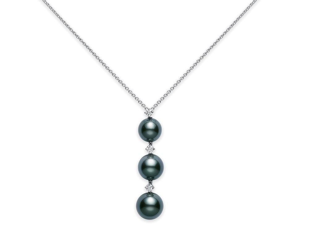 1000x750 Lofty Mikimoto Black Pearl Necklace South Sea 3 Pendant Necklaces