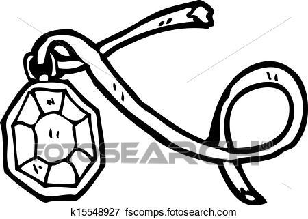450x321 Clip Art Of Cartoon Diamond Necklace K15548927