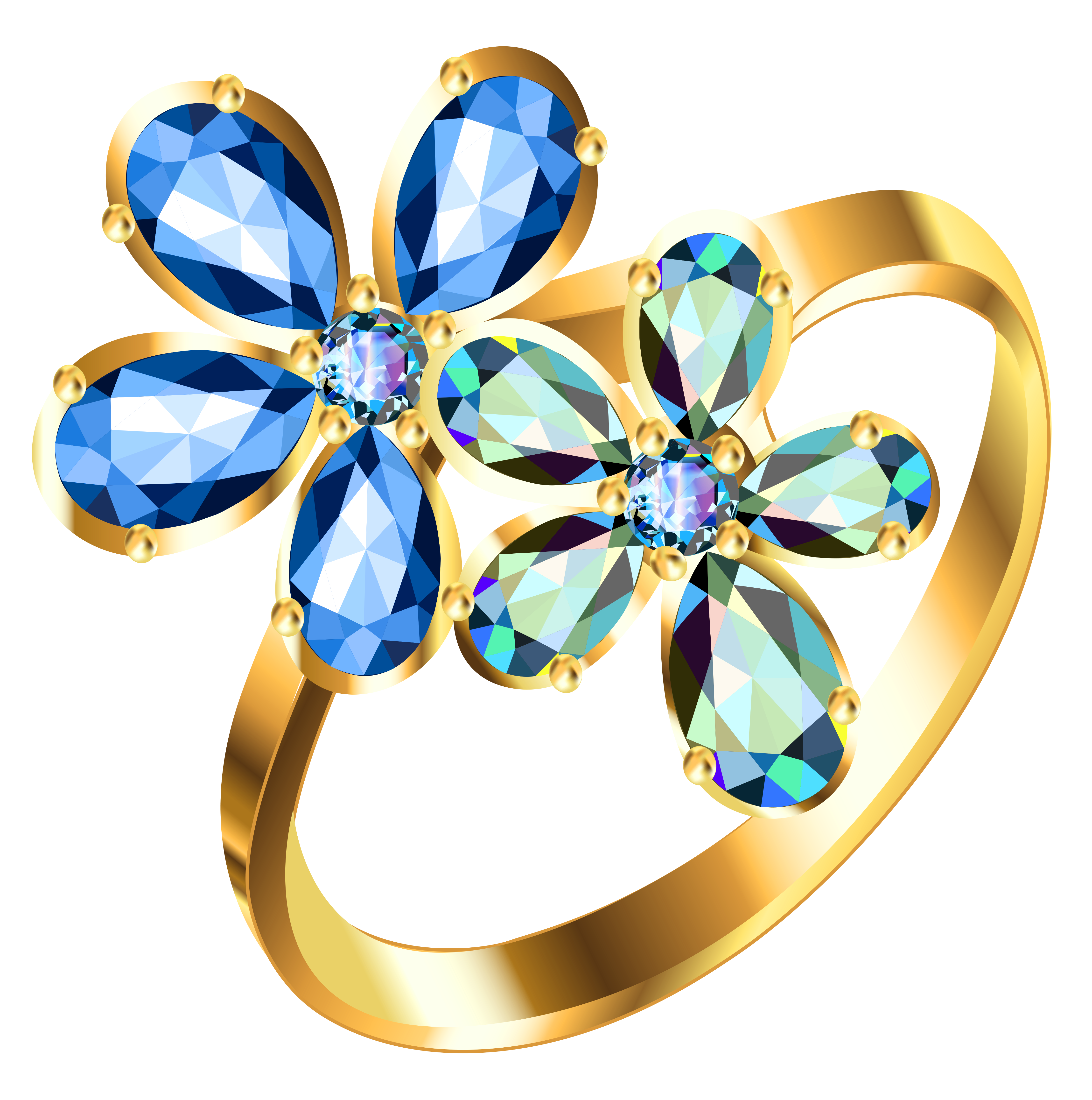 4524x4556 Silver Ring With Blue Floral Diamonds Png Clipartu200b Gallery